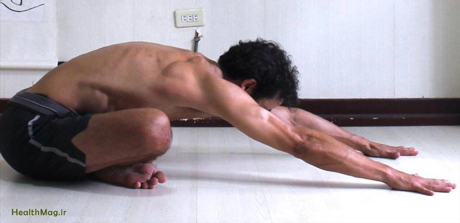 حرکت یوگا Cross-Legged-Bend