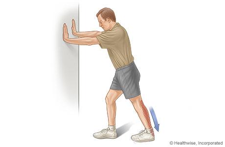 wall stretch سه حرکت برای کاهش درد پاشنه پا