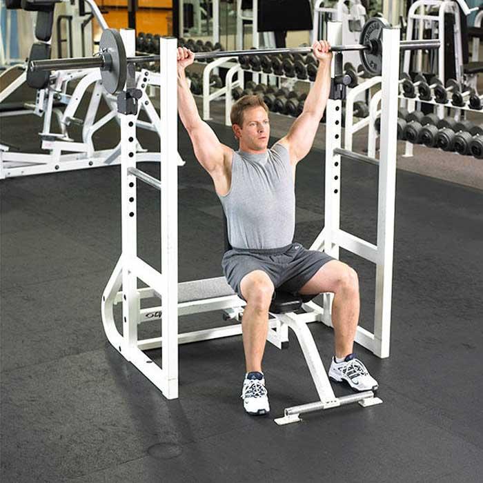 تمرینات قدرتی برای کاهش وزن,پرس سرشانه نشسته با هالتر
