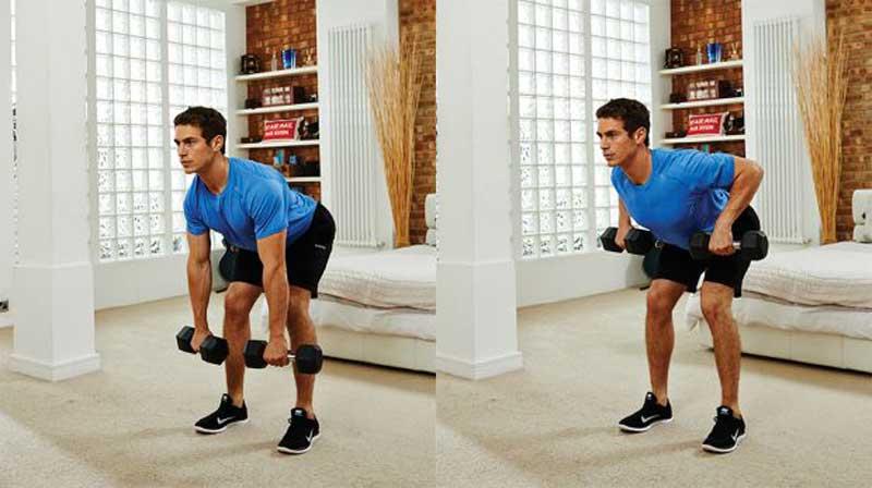 ورزش برای آب کردن چربی پشت کمر,dumbbells-countdown-home-workout-bent-over-row