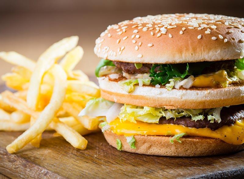 fast-food-burger-fries,درمان فوری نفخ